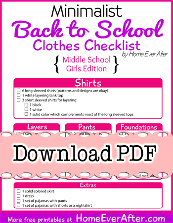 Free Printables} Minimalist Back to School Clothes Checklist for ...
